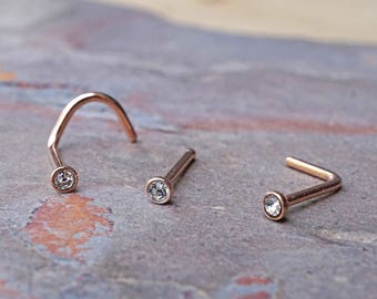 20g Crystal 14kt Rose Gold Nose Ring Boho Nose Ring