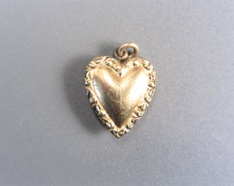 Vintage Antique Repousse Heart Charm Estate Jewelry