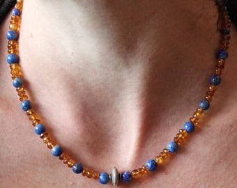 925 Silver necklace and matching Sodalite faceted citrine gemstones