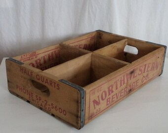 Vintage Wood Crate, Northwestern Beverage Co Chicago, Rustic Country Storage Farmhouse Kitchen Decor