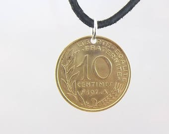 1972 French Coin Necklace, 10 Centimes, Mens Necklace, Womens Necklace, Leather Cord, Vintage, Handmade