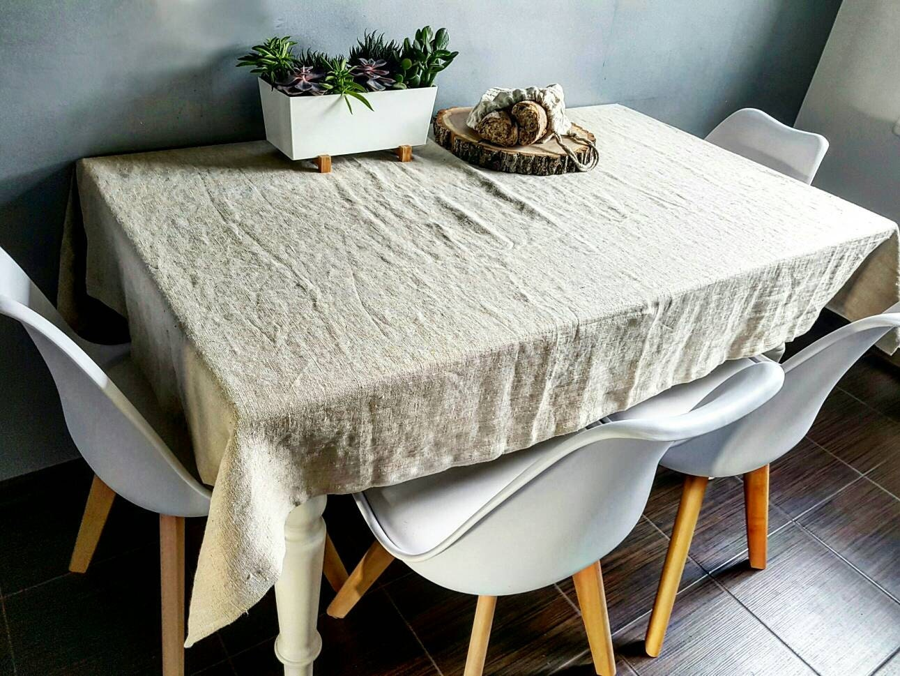 Rustic linen tablecloth vintage linen tablecloth stonewashed