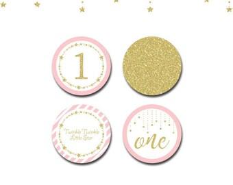 Twinkle Twinkle Little Star Cupcake Toppers,Twinkle Twinkle Little Star party circles,Pink and gold party circles,printable cupcake toppers