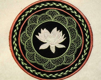 """Lotus Flower Iron on Patch 4"""" and 5.8"""""""