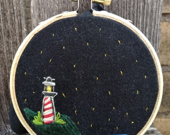 Embroidered lighthouse/seaside/embroidery/night time/stars/ocean/beach/sea