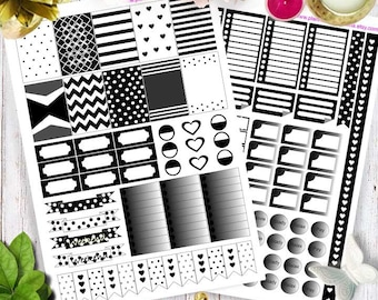 Printable Planner Stickers, Happy planner stickers, Erin Condren stickers, black and white Stickers
