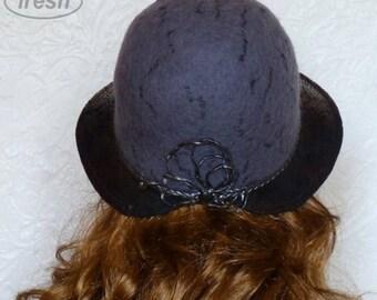 Grey hat, Felt hat, Felted hats, Women's gray hat, Black and gray, Black hat, Woolen hat, Warm hat, Winter hat, Autumn, Elegant hat