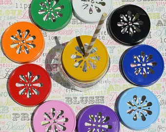 24 Mason Jar Lids in Daisy Design, Wedding Mason Jar Lids, Mason Jar Lids for Kids Party Drinks, Party Favor Jar Lids, Daisy Mason Jar Lids