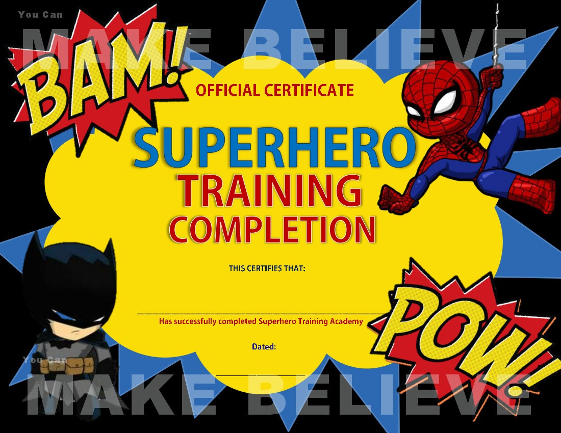 Superhero party training completion certificate zoom yadclub Choice Image