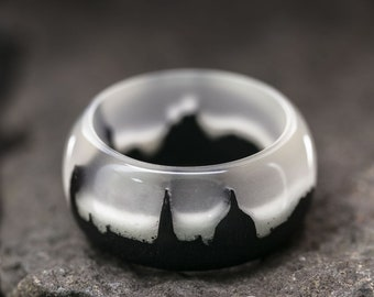 Mysterious City wood resin ring Eco epoxy jewelry Green Wood rings the secret of the magical world in a tiny landscape glow ring wood ring