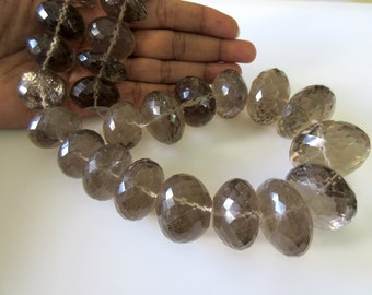 Huge Rare 33mm To 20mm Natural Smoky Quartz Micro Faceted Rondelles Beads,  One Of A Kind Beads 18 Inch Strand, GDS165
