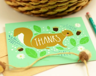 Squirrel Thank You Cards, Thank You Squirrel Cards, Squirrel Stationery, Squirrel Blank Thank You, Squirrel Thanks, Squirrel Gratitude Cards