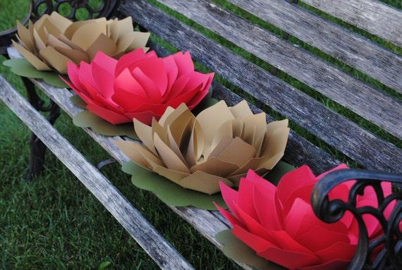"""HUGE 12"""" Lotus Flowers. CHOOSE Your COLORS. Wedding, Event, Favor. Guest Table Decoration, Aisle, Tent Dec"""