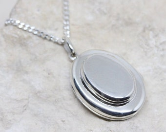 four picture Locket Necklace, 4-Picture Oval Locket,  Sterling Silver Oval Four Photo Locket, Choose Sterling chain, locket Jewelry