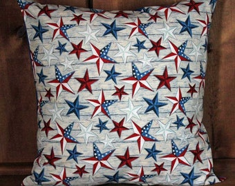 Patriotic July 4th Red White and Blue Stars Pillow Cover 18 Square