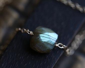 Labradorite Nugget Necklace, Gold Labradorite Necklace, Gemstone Necklace, Labradorite Pendant Necklace, Silver or Gold,  Flashy Labradorite