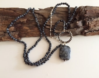Long, Onyx, Silver, Asymmetrical, Necklace