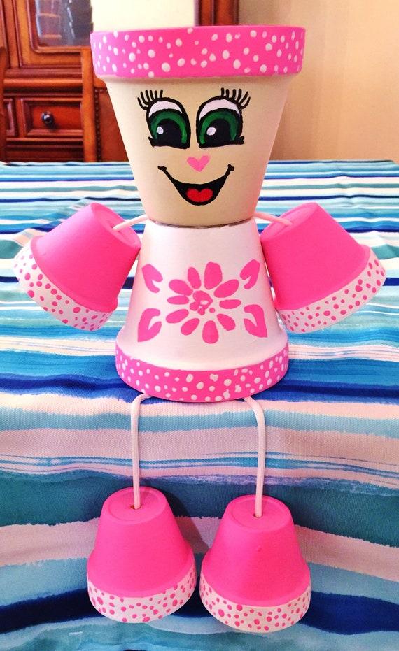 Girl or Boy Pink Flower Dots Clay Pot Head People Terra Cotta