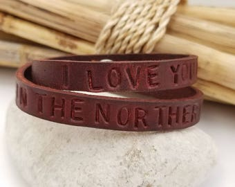 Leather Wrap Bracelet, Personalized, Anniversary, Gift for Husband, Gift for Wife, Leather Engraved Bracelet