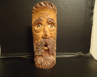 Driftwood Carving Wood Spirit  Sculpture,Country Man Mountain Man,Birthday Gift, Wood Carving