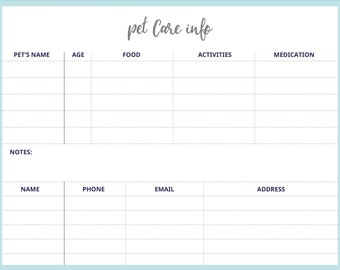 Pet Care Info | Pet Schedule | Printable Schedule | Weekly Planner | Weekly Planner Printable | To Do List | PDF Instant Download