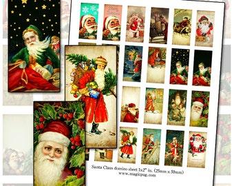 "Antique Santa Claus domino digital collage sheet 25mm x 50mm 1x2 inch 25.4 mm 1x1 1"""