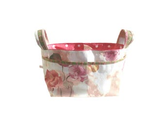 Fabric Storage Basket in Shabby Chic fabric