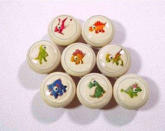 Lil' Dinosaurs Decorative Knobs for Kids Bedroom or Playroom, Set of 4 OR Set of 8 Different Baby Dinosaurs.  Great New Baby Gift!