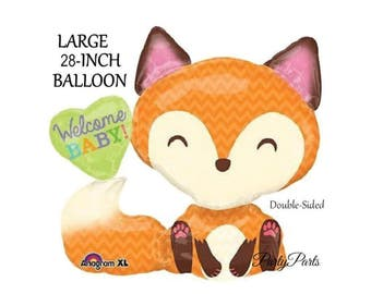 Fox Balloon, Baby Shower Decorations, Welcome Baby, 1 CT, 28 inches, Mylar, Helium, Woodland, Gender Reveal