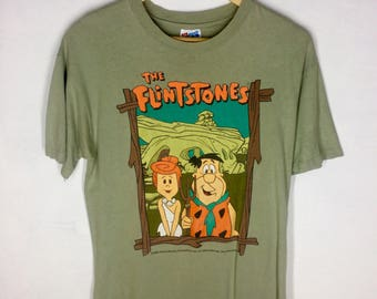 Rare Design Vintage Cartoon The Flintstones 1993s T-shirt