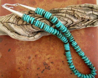 Turquoise Howlite Necklace, Howlite Necklace, Southwest Howlite Necklace, Southwest Necklace, Free Shipping
