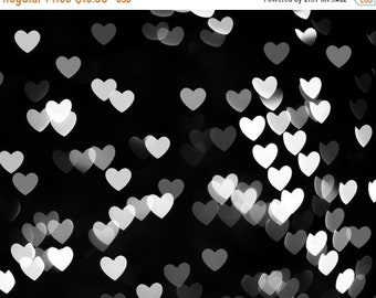 ON SALE abstract photography black and white wall art heart photography bokeh print 8x10 8x12 modern fine art photography geometric monochro