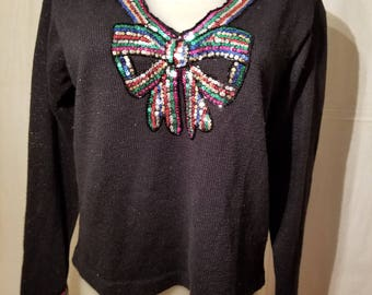 FREE  SHIPPING  1980  Sequin Sweater