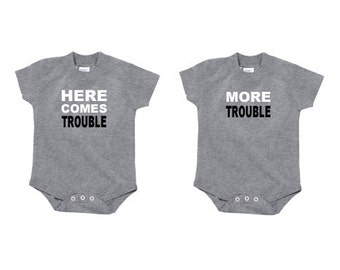 "Funny Twin Shirts | ""Here Comes Trouble"" and ""More Trouble"" (set of 2) 