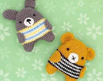 Handmade Amigurumi Bear and Bunny Friends