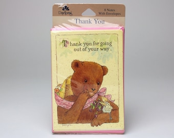 "Vintage Dayspring Thank You Cards, Set of 8 - ""Thank you for going out of your way...to bless my day!"" by Sawyer - Bear & Mouse"