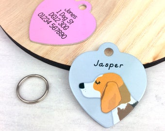 Dog Tag - Beagle Dog Tag HEART Collar Tag - Beagle Puppy - Beagle Collar