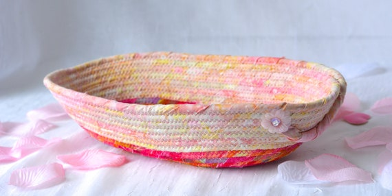 Artisan Eyeglass Basket, Handmade Key Dish Bowl, Ring Holder, Desk Accessory, Quilted Textile Art Basket, Pink Batik Home Decor