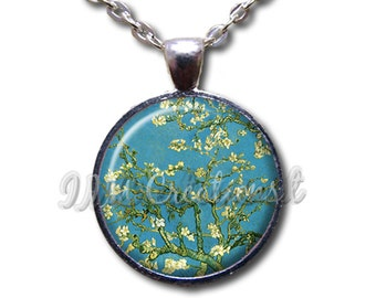 Van Gogh's Almond Blossoms - Round Glass Dome Pendant or with Necklace by IMCreations - AP100