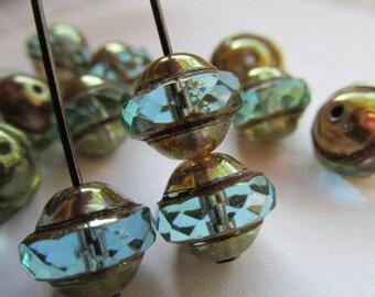 Aqua Bronze Saturn, 8 x 10mm Saturn, Czech Glass Saturn Bead, Czech glass, Saturn, Saturn beads, Czech glass Beads, beads, Aqua Beads