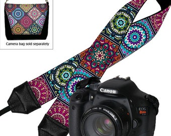 DSLR Camera Strap,   Padded Camera Strap,  Nikon Camera Strap, Canon Strap,  Camera Accessories, Bohemian Colorful blue purple orange RTS