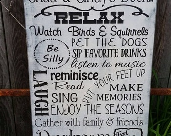 Deck Rules Sign primitive Typography Word Art  12x24