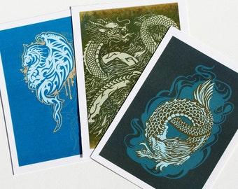 Mini Art Prints, Asian Tribal Dragon Tattoo Illustrations, Series 01