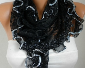 Black  Ruffle Lace Scarf ,Wedding Shawl,Bridal Scarf Cowl Scarf Bridesmaid Gift,Gift Ideas For Her, Women Fashion Accessories