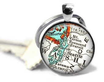Seattle, Washington Keychain, husband gift, Seattle keychain, custom keychain, personalized gifts for him, couples keychain, dad ideas, A307