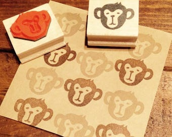Monkey's face Only (large) rubber stamp