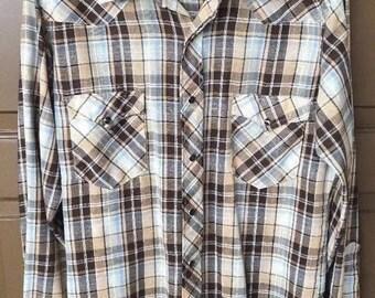 Vintage 1970s Wrangler Pearl Snap Western Plaid Shirt