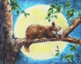 "Woodland  Nursery art decor children Baby Animal wildlife wall art Canvas or paper print kids ""Sleep Tight Baby Bear"" Laurie Shanholtzer"