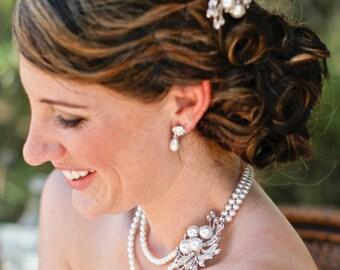 Pearl Necklace Pearl Rhinestone bridal Necklace pearl and crystal wedding Necklace Wedding Pearl Necklace Bridal statement necklace JULIE