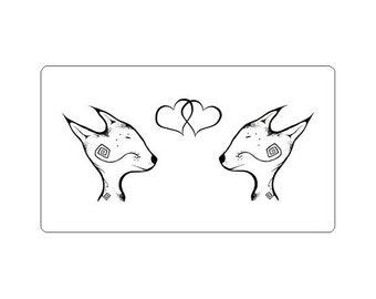 Fox Sticker - Cute Foxes in Love Hearts - Spiritfox Lineart